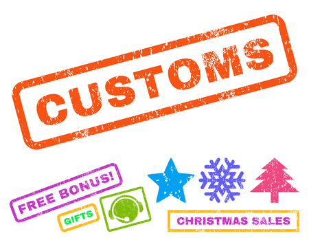 customs: Customs text rubber seal stamp watermark with additional bonus new year symbols. Caption inside rectangular shape with grunge design and unclean texture.