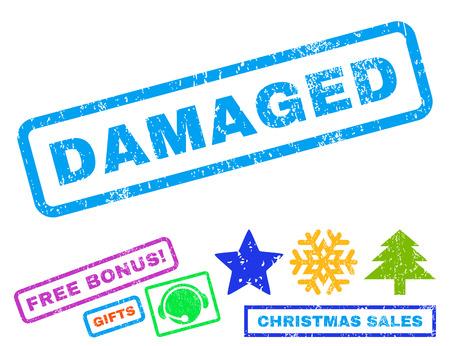 Marca de agua dañada del sello del sello de goma del texto con símbolos adicionales de la Navidad de la prima. Título dentro de banner rectangular con diseño grunge y textura de polvo. Ilustración de vector