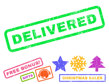 delivered: Delivered text rubber seal stamp watermark with additional bonus new year symbols. Caption inside rectangular banner with grunge design and dirty texture.