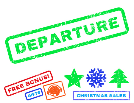 Departure text rubber seal stamp watermark with bonus christmas symbols. Tag inside rectangular shape with grunge design and dust texture.