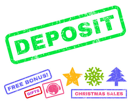Deposit text rubber seal stamp watermark with bonus christmas symbols. Caption inside rectangular shape with grunge design and dirty texture.