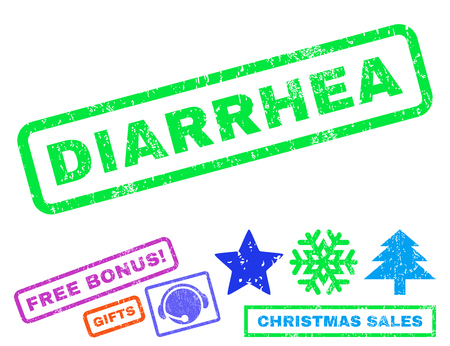 Diarrhea text rubber seal stamp watermark with bonus christmas symbols. Caption inside rectangular banner with grunge design and scratched texture.