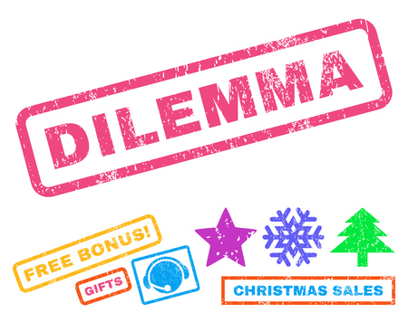 dilemma: Dilemma text rubber seal stamp watermark with additional bonus christmas symbols. Tag inside rectangular shape with grunge design and unclean texture.