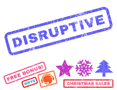 disruptive: Disruptive text rubber seal stamp watermark with additional bonus christmas symbols. Tag inside rectangular shape with grunge design and scratched texture.