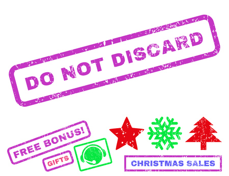 discard: Do Not Discard text rubber seal stamp watermark with additional bonus new year symbols. Caption inside rectangular banner with grunge design and scratched texture.
