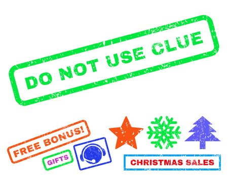 clue: Do Not Use Clue text rubber seal stamp watermark with bonus new year symbols. Tag inside rectangular shape with grunge design and dirty texture.