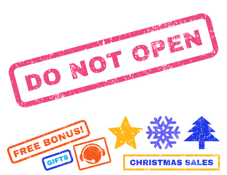 not open: Do Not Open text rubber seal stamp watermark with bonus new year symbols. Caption inside rectangular banner with grunge design and scratched texture.