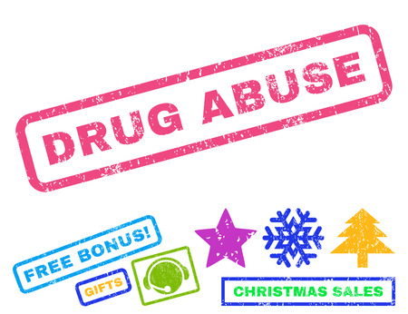 drug abuse: Drug Abuse text rubber seal stamp watermark with bonus christmas symbols. Tag inside rectangular banner with grunge design and dirty texture.