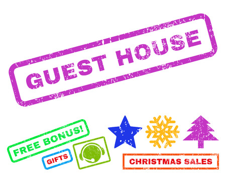 guest house: Guest House text rubber seal stamp watermark with additional bonus new year symbols. Caption inside rectangular shape with grunge design and scratched texture.