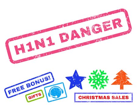 h1n1: H1N1 Danger text rubber seal stamp watermark with bonus new year symbols. Caption inside rectangular banner with grunge design and dirty texture.