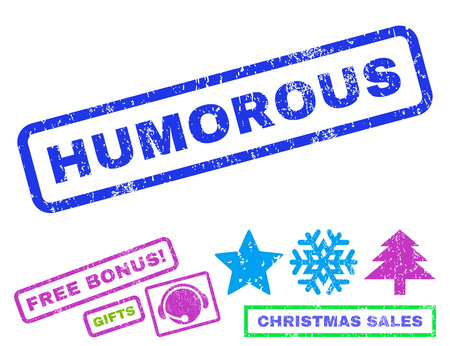 humorous: Humorous text rubber seal stamp watermark with additional bonus new year symbols. Tag inside rectangular shape with grunge design and dirty texture.