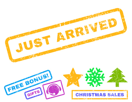 arrived: Just Arrived text rubber seal stamp watermark with additional bonus christmas symbols. Caption inside rectangular shape with grunge design and unclean texture.