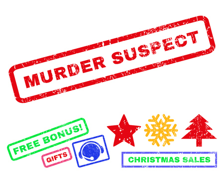 murder: Murder Suspect text rubber seal stamp watermark with bonus new year symbols. Tag inside rectangular banner with grunge design and unclean texture.