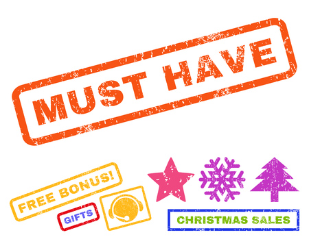 Must Have text rubber seal stamp watermark with bonus christmas symbols. Caption inside rectangular banner with grunge design and scratched texture.