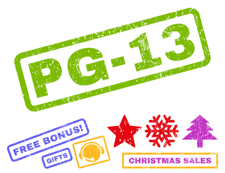 Pg-13 text rubber seal stamp watermark with additional bonus christmas symbols. Tag inside rectangular shape with grunge design and dirty texture. Illustration