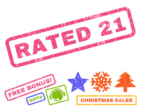 Rated 21 text rubber seal stamp watermark with additional bonus christmas symbols. Tag inside rectangular banner with grunge design and dust texture.