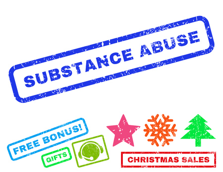 substance abuse: Substance Abuse text rubber seal stamp watermark with bonus christmas symbols. Tag inside rectangular shape with grunge design and dirty texture.