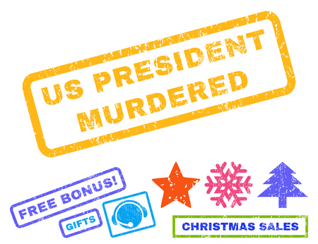murdered: Us President Murdered text rubber seal stamp watermark with additional bonus new year symbols. Tag inside rectangular shape with grunge design and dirty texture.
