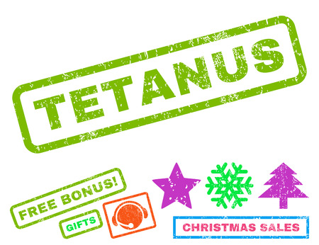 tetanus: Tetanus text rubber seal stamp watermark with bonus christmas symbols. Tag inside rectangular shape with grunge design and unclean texture.