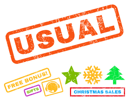 usual: Usual text rubber seal stamp watermark with bonus christmas symbols. Caption inside rectangular shape with grunge design and unclean texture. Illustration