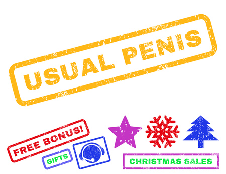 usual: Usual Penis text rubber seal stamp watermark with additional bonus christmas symbols. Caption inside rectangular banner with grunge design and scratched texture.