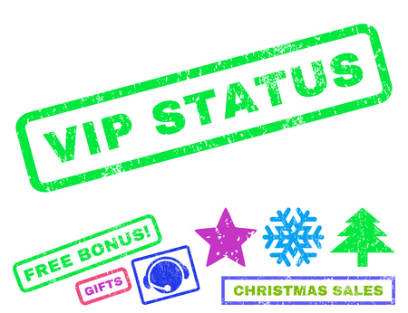 appreciated: Vip Status text rubber seal stamp watermark with bonus christmas symbols. Tag inside rectangular shape with grunge design and scratched texture. Illustration