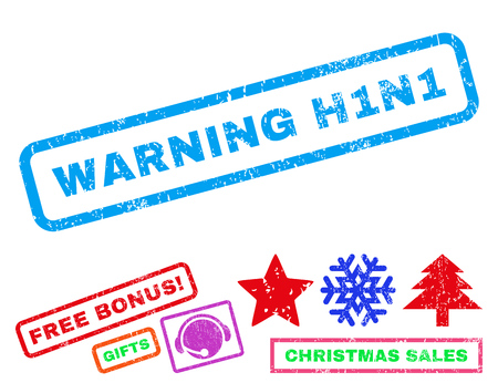 h1n1: Warning H1N1 text rubber seal stamp watermark with additional bonus christmas symbols. Caption inside rectangular shape with grunge design and unclean texture.