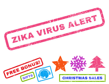 Zika Virus Alert text rubber seal stamp watermark with additional bonus christmas symbols. Tag inside rectangular banner with grunge design and dust texture. Illustration