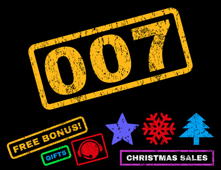 007 text rubber seal stamp watermark with bonus christmas symbols. Tag inside rectangular banner with grunge design and unclean texture. Illustration