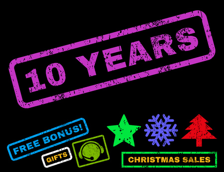 10 years: 10 Years text rubber seal stamp watermark with additional bonus new year symbols. Caption inside rectangular banner with grunge design and unclean texture.