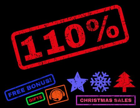 one hundred and ten: 110 Percent text rubber seal stamp watermark with additional bonus new year symbols. Caption inside rectangular banner with grunge design and unclean texture.