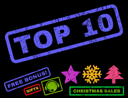 top 10: Top 10 text rubber seal stamp watermark with bonus new year symbols. Tag inside rectangular shape with grunge design and unclean texture.