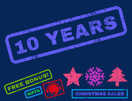 10 years: 10 Years text rubber seal stamp watermark with bonus christmas symbols. Caption inside rectangular banner with grunge design and scratched texture.