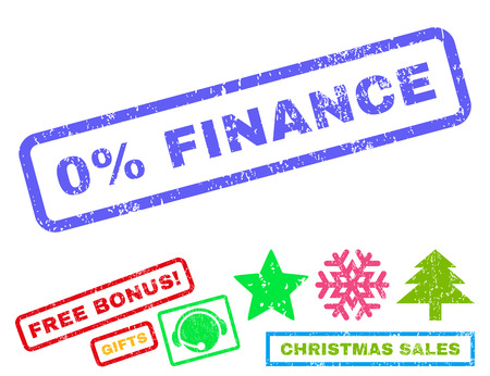 inability: 0 Percent Finance text rubber seal stamp watermark with additional bonus christmas symbols. Caption inside rectangular banner with grunge design and scratched texture. Illustration