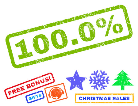 absolute: 100.0 Percent text rubber seal stamp watermark with additional bonus christmas symbols. Caption inside rectangular shape with grunge design and dust texture.