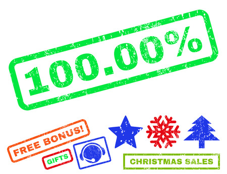 absolute: 100.00 Percent text rubber seal stamp watermark with bonus christmas symbols. Tag inside rectangular shape with grunge design and scratched texture. Illustration