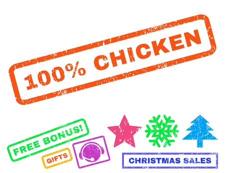 absolute: 100 Percent Chicken text rubber seal stamp watermark with additional bonus christmas symbols. Tag inside rectangular banner with grunge design and dust texture.