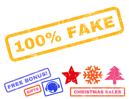 100 Percent Fake text rubber seal stamp watermark with additional bonus christmas symbols. Tag inside rectangular banner with grunge design and dirty texture.