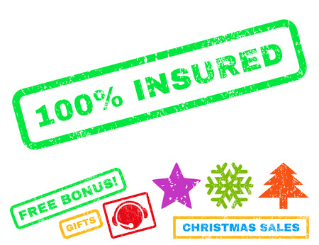 insured: 100 Percent Insured text rubber seal stamp watermark with additional bonus christmas symbols. Caption inside rectangular shape with grunge design and scratched texture.