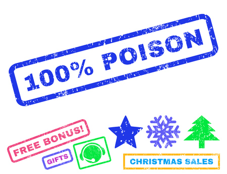 absolute: 100 Percent Poison text rubber seal stamp watermark with additional bonus new year symbols. Tag inside rectangular banner with grunge design and dust texture. Illustration