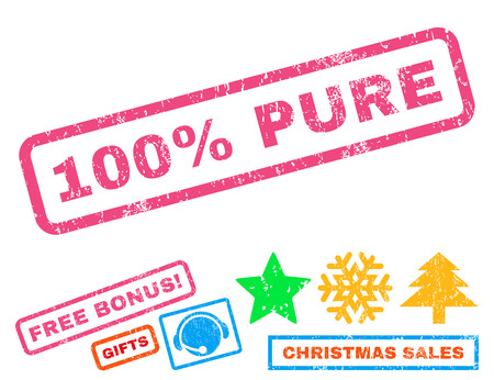 absolute: 100 Percent Pure text rubber seal stamp watermark with additional bonus new year symbols. Tag inside rectangular shape with grunge design and unclean texture. Illustration