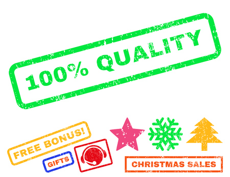 100 Percent Quality text rubber seal stamp watermark with additional bonus christmas symbols. Caption inside rectangular banner with grunge design and dirty texture.
