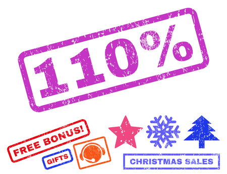 one hundred and ten: 110 Percent text rubber seal stamp watermark with additional bonus new year symbols. Caption inside rectangular shape with grunge design and scratched texture.