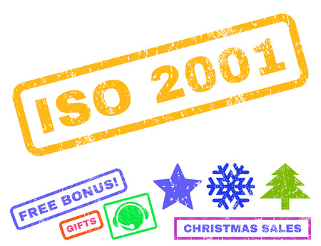 ISO 2001 text rubber seal stamp watermark with additional bonus new year symbols. Tag inside rectangular banner with grunge design and dust texture.