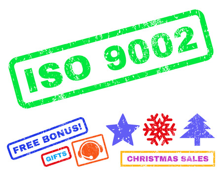 ISO 9002 text rubber seal stamp watermark with additional bonus new year symbols. Tag inside rectangular banner with grunge design and unclean texture. Illustration