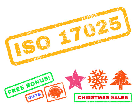 ISO 17025 text rubber seal stamp watermark with additional bonus new year symbols. Caption inside rectangular shape with grunge design and scratched texture.