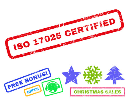 ISO 17025 Certified text rubber seal stamp watermark with additional bonus christmas symbols. Caption inside rectangular banner with grunge design and scratched texture.