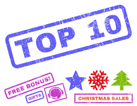 top 10: Top 10 text rubber seal stamp watermark with additional bonus christmas symbols. Tag inside rectangular banner with grunge design and unclean texture. Illustration