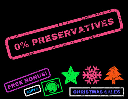 preservatives: 0 Percent Preservatives text rubber seal stamp watermark with bonus christmas symbols. Tag inside rectangular banner with grunge design and dust texture. Illustration