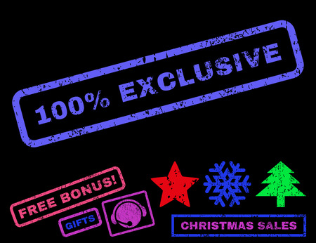 absolute: 100 Percent Exclusive text rubber seal stamp watermark with bonus new year symbols. Caption inside rectangular banner with grunge design and dirty texture. Illustration